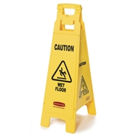 4-sidet advarselsskilt - CAUTION WET FLOOR
