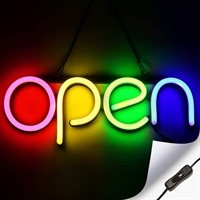 """OPEN"" LED neonskilt - Flerfarvet"