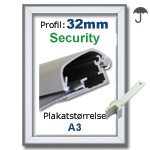 A3 Security snaprammer med 32mm profil