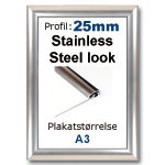 A4 Snap ramme med stainless steel look 25mm profil